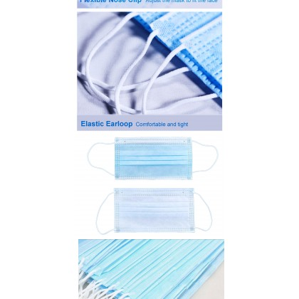 Face Mask 3ply disposable surgical mask with earloop